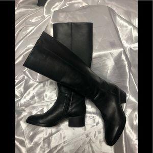 J crew black leather knee boots